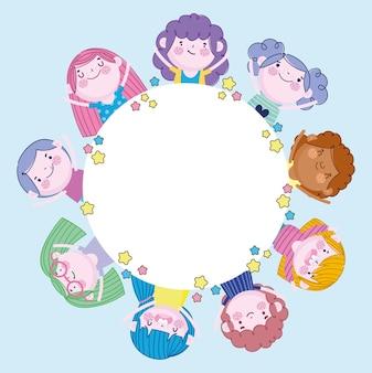 Bambine e ragazzi maschi e femmine di cartone animato, illustrazione dei bambini