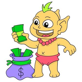 I piccoli goblin stavano rubando soldi di proprietà della gente, arte dell'illustrazione di vettore. scarabocchiare icona immagine kawaii.