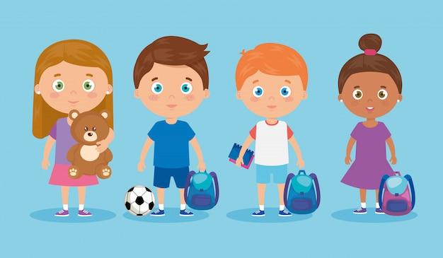 Personaggi di avatar di piccoli gruppi di bambini