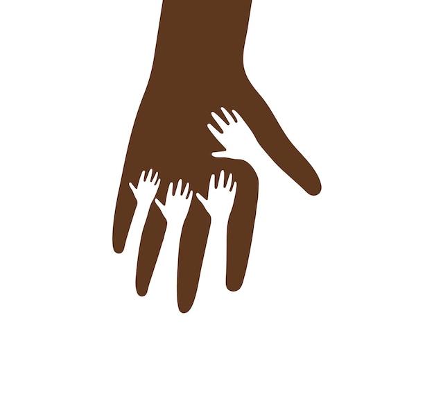 Piccole mani dentro l'icona di vettore del grande palmo. mano amica, assistenza sanitaria per bambini, modello di logo di beneficenza. sagoma piatta marrone, simbolo astratto. illustrazione vettoriale isolato su sfondo bianco