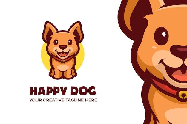 Modello di logo del personaggio mascotte del piccolo cane felice happy