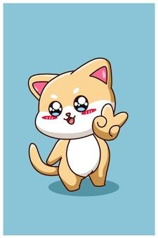 Una piccola illustrazione di cartone animato animale gatto felice e divertente