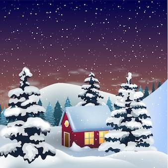 Piccola casa sulle colline innevate, accogliente scena invernale.