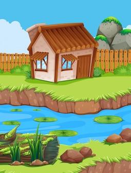 Piccola capanna sul fiume