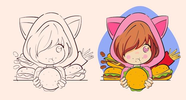 Piccola ragazza anime kawaii con mangia fast food