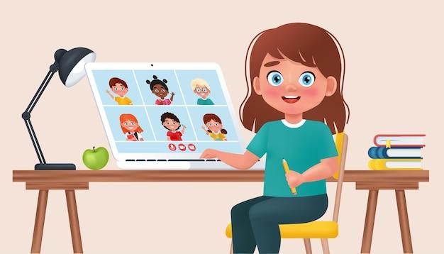Il ragazzino ha una videoconferenza con i compagni di classe sul computer portatile illustrazione vettoriale in stile cartoon 3d
