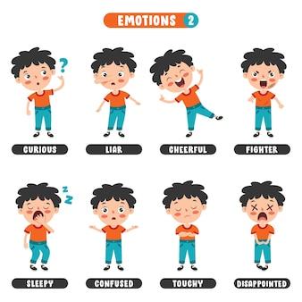 Ragazzino con emozioni diverse