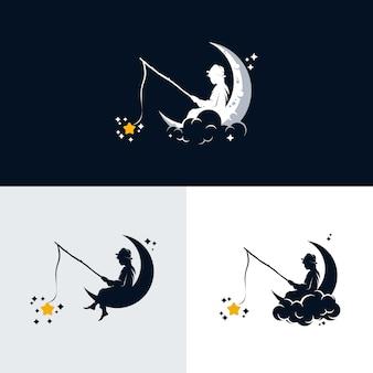 Piccoli bambini che pescano le stelle sulla luna