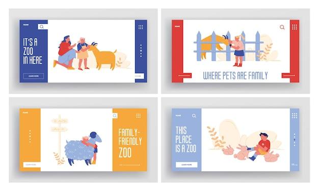 I bambini piccoli visitano lo zoo di allevamento con i genitori landing page template set. personaggi dei bambini che accarezzano animali domestici pecore, conigli e capre, trascorrono del tempo nel fine settimana. gente del fumetto