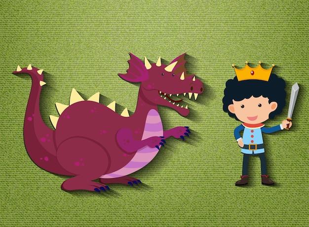 Piccolo personaggio dei cartoni animati di cavaliere e drago