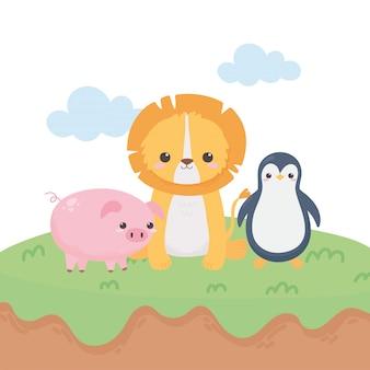 Piccoli animali del fumetto del maiale e del pinguino del leone in un'illustrazione di vettore di progettazione del paesaggio naturale