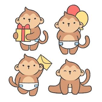 Raccolta disegnata a mano del fumetto della piccola scimmia Vettore Premium