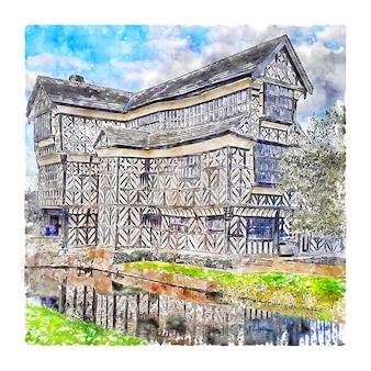 Illustrazione disegnata a mano di schizzo dell'acquerello di little moreton hall congleton england