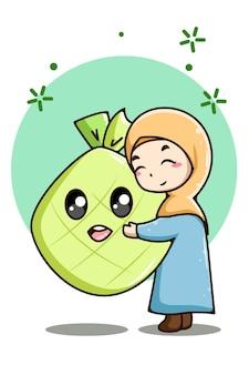 Piccola ragazza musulmana con l'illustrazione del fumetto dell'alimento del ramadan