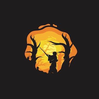 Un piccolo ninja nel logo della foresta notturna