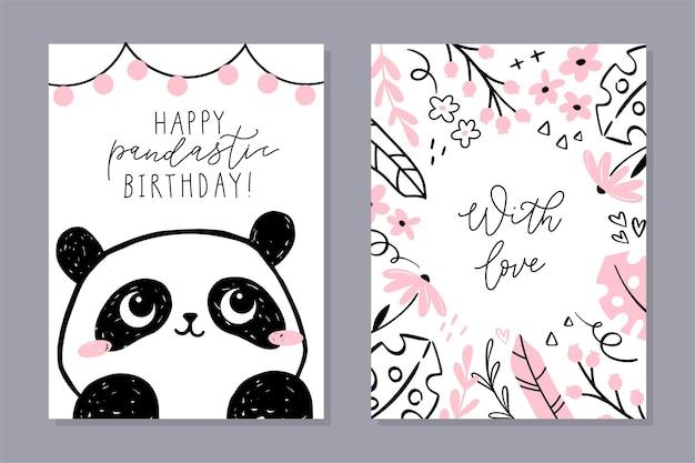 Set di carte piccolo panda. simpatico personaggio panda, cornice floreale con frase scritta a mano. Vettore Premium