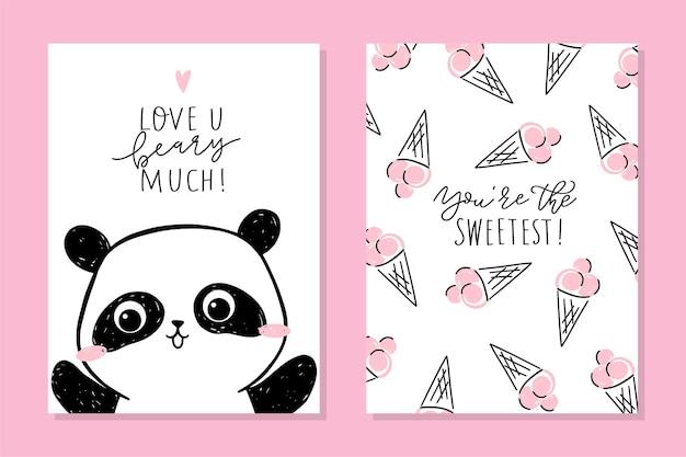 Set di carte piccolo panda. simpatico personaggio e testo del panda: ti amo molto. Vettore Premium