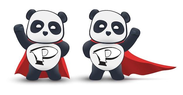 Il piccolo supereroe del panda vola in aria con un mantello rosso. isolato su sfondo bianco