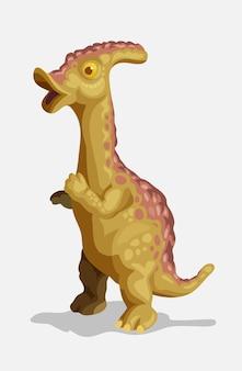 Piccolo parasaurolophus. foto di dinosauro del fumetto. simpatico personaggio di dinosauri. piatto isolato su sfondo bianco.