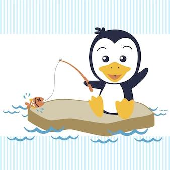 Piccola pesca del fumetto del pinguino