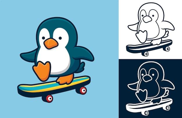 Piccolo pinguino che gioca a skateboard. illustrazione di cartone animato in stile icona piatta