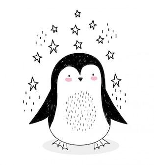 Fumetto sveglio della fauna selvatica di schizzo degli animali della decorazione delle stelle del piccolo pinguino adorabile