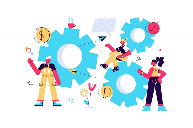 Collegamenti di meccanismi di piccole persone. meccanismo aziendale. sfondo astratto con ingranaggi. le persone sono impegnate nella promozione aziendale, nell'analisi della strategia, nel comunicare il concetto. illustrazione vettoriale di affari