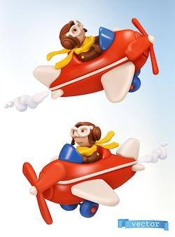 Piccolo pilota con un aeroplano giocattolo 3d