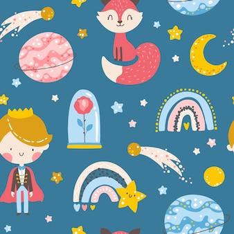 Modello senza cuciture del piccolo principe ragazzo con volpe rosa pianeti e stelle