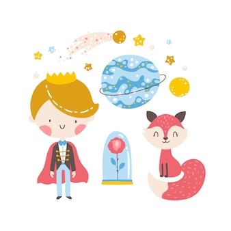 Piccolo principe con rosa volpe e pianeti