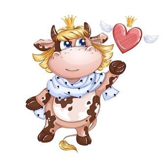 Una piccola vitella principessa con una sciarpa reale al collo lascia andare un cuore alato in una corona.