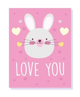 Personaggi simpatici animali di coniglio faccia amore cuori dei cartoni animati