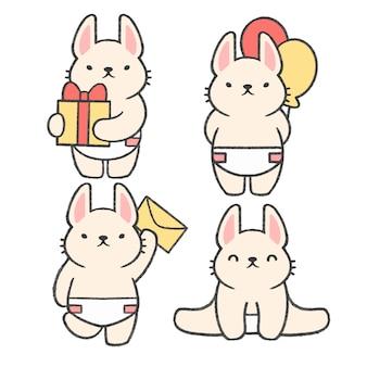 Raccolta del fumetto disegnato a mano del piccolo coniglio Vettore Premium