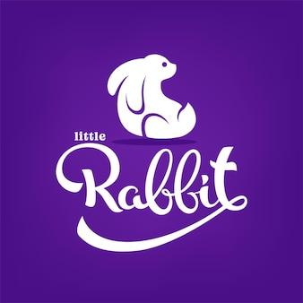 Little rabbit, silhouette, piccolo simpatico coniglietto con composizione scritta