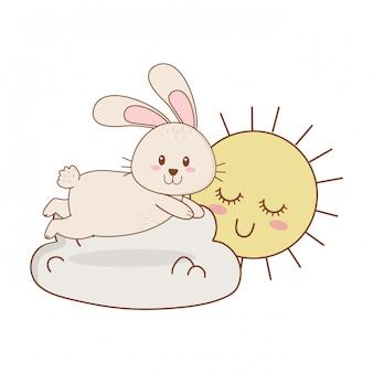 Piccolo coniglio con il sole kawaii nel carattere di nuvole di pasqua