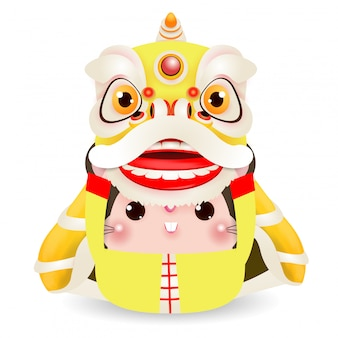 Il piccolo ratto esegue lion dance