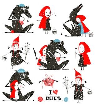 Collezione cappuccetto rosso e wolf fairytale