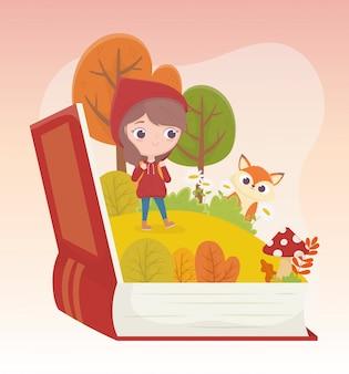 Piccola illustrazione del fumetto di fiaba del libro dell'erba della foresta del lupo del cappuccio di guida rosso