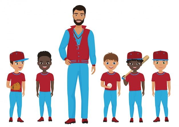 Squadra di baseball per bambini della piccola scuola con un allenatore. illustrazione.