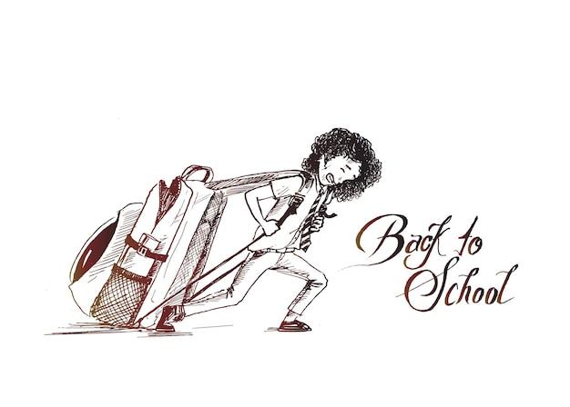 Il piccolo studente della scuola tira la sua borsa pesante con il testo dell'illustrazione vettoriale di ritorno a scuola