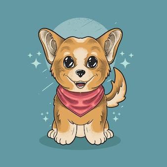Piccolo cane shiba indossa sciarpa stile grunge illustrazione vettoriale