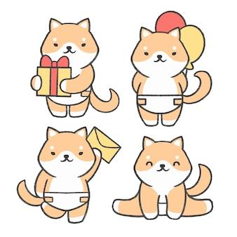 Piccola raccolta disegnata a mano del fumetto di inu di shiba Vettore Premium