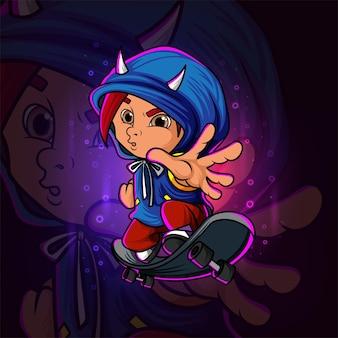 Il piccolo ragazzo di skateboard esport logo design dell'illustrazione