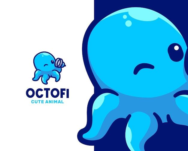 Modello di logo del personaggio di little smart octopus
