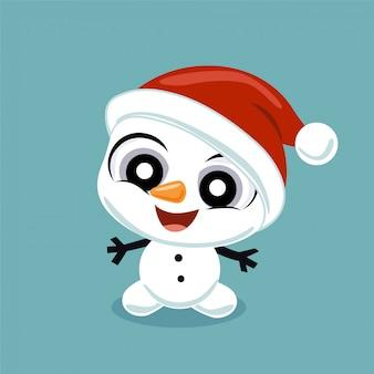 Piccolo pupazzo di neve con cappello di babbo natale
