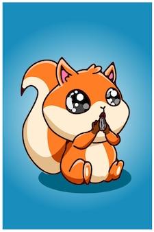 Un piccolo scoiattolo che mangia i semi di girasole