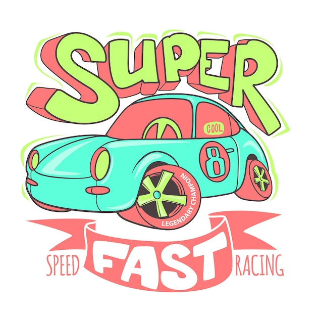 Little super car vector t-shirt design e altri usi