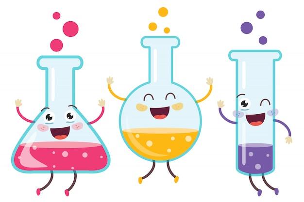Piccoli tubi che fanno esperimento chimico