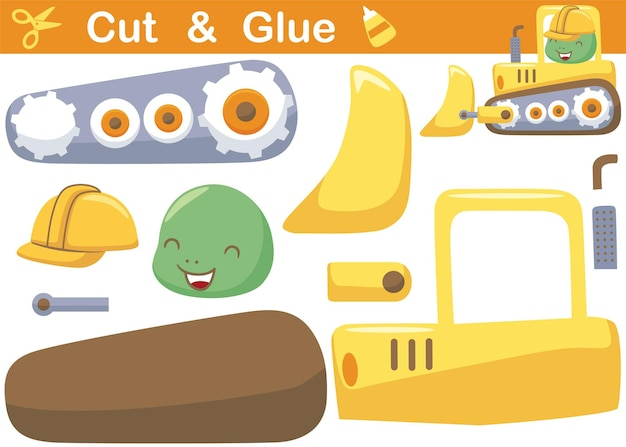 Piccola tartaruga sul bulldozer. gioco di carta educativo per bambini. ritaglio e incollaggio. illustrazione dei cartoni animati
