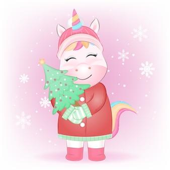 Piccolo unicorno con illustrazione disegnata a mano di albero di pino